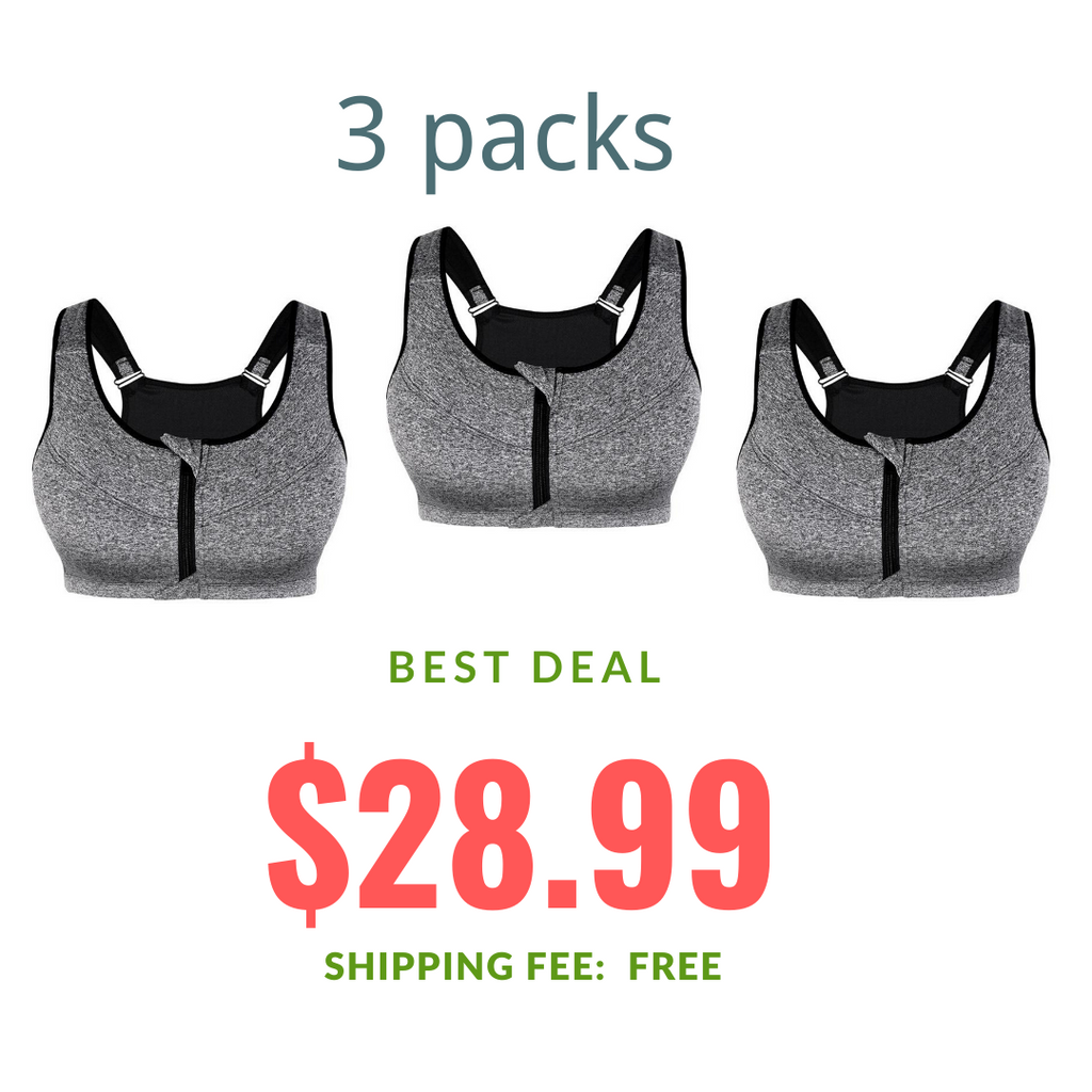 Kloksil Plus Size 3 Packs Sports Bra on Sale