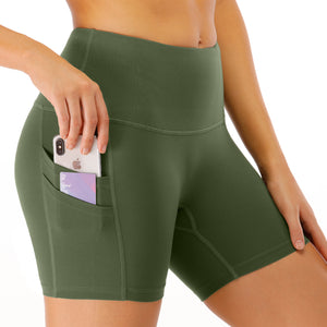 Women's High Waist Gym Shorts with Phone Pocket image 3