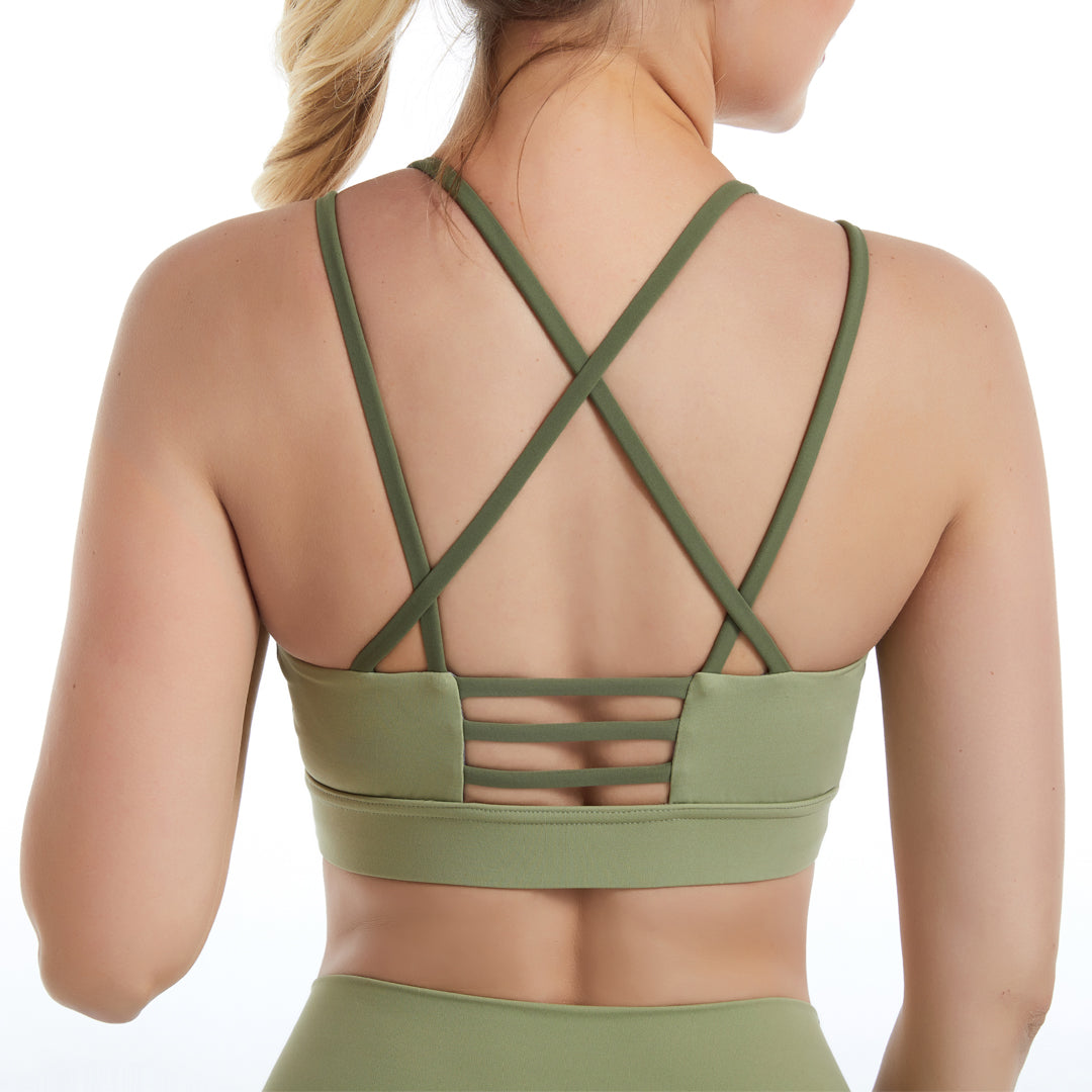 Sexy Sports bra Padded Back Cross Strappy Workout Best Supportive Yoga Bra Yoga Pants with Pocket Gym Sets image 1