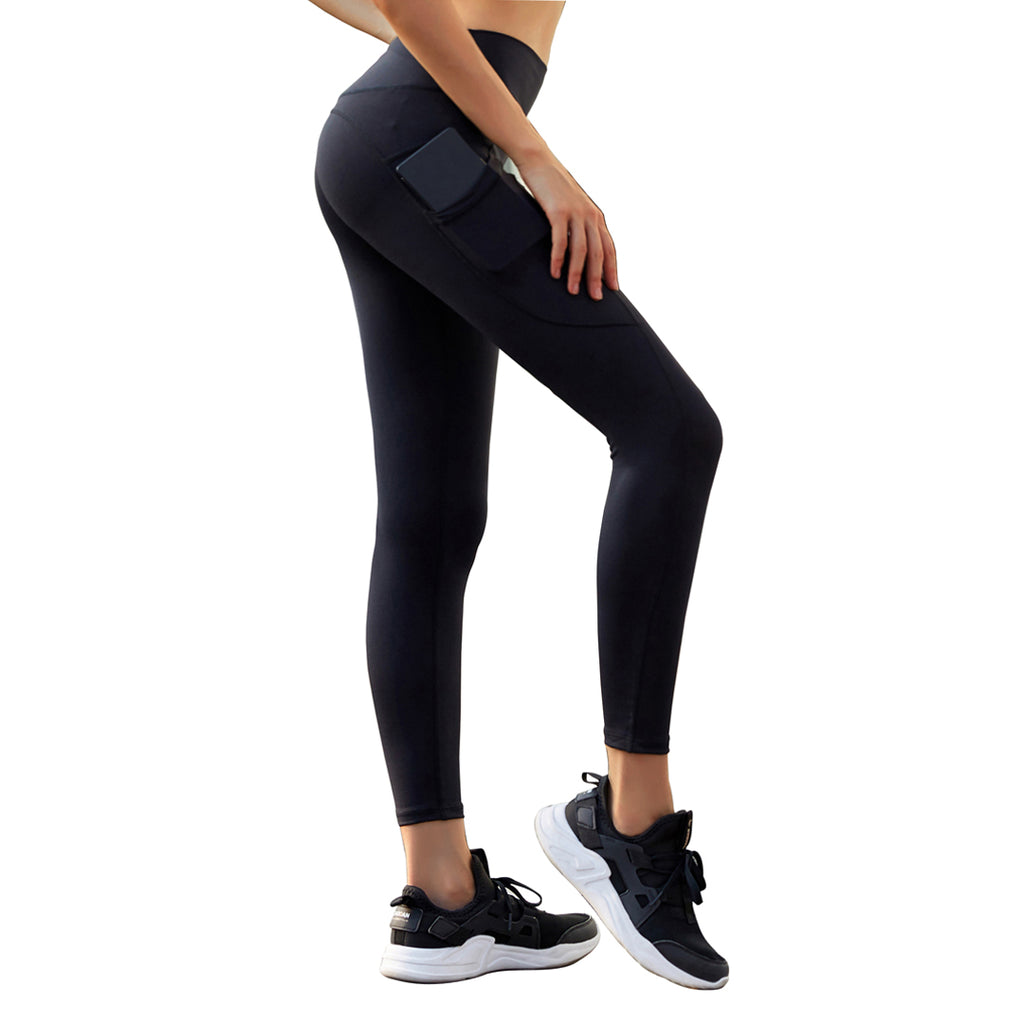 High Waist Yoga Pants with Pockets, Tummy Control Yoga Leggings, Non See-Through 4 Way Stretch Workout Running Tights-409
