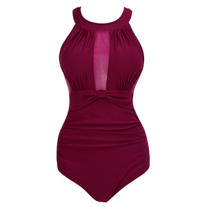 Women High Neck One Piece Swimsuit Plunge Mesh Ruched Monokini Swimwear Wine Red
