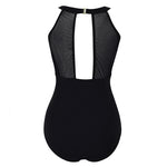 Women High Neck One Piece Swimsuit Plunge Mesh Ruched Monokini Swimwear-801
