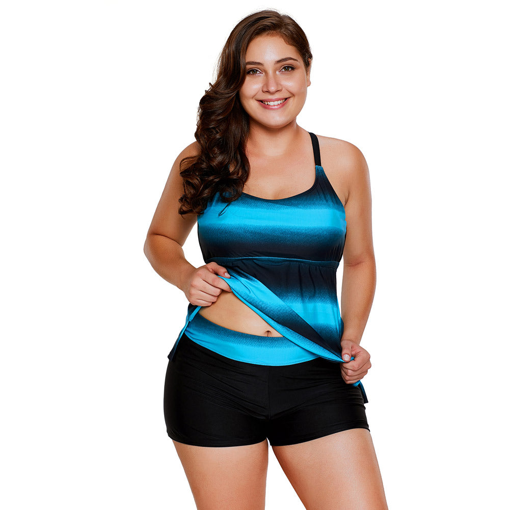 Women Plus Size Strappy Hollow-out Back Tankini image 1