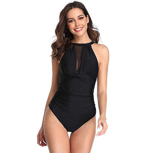 Women High Neck One Piece Swimsuit Plunge Mesh Ruched Monokini Swimwear Black