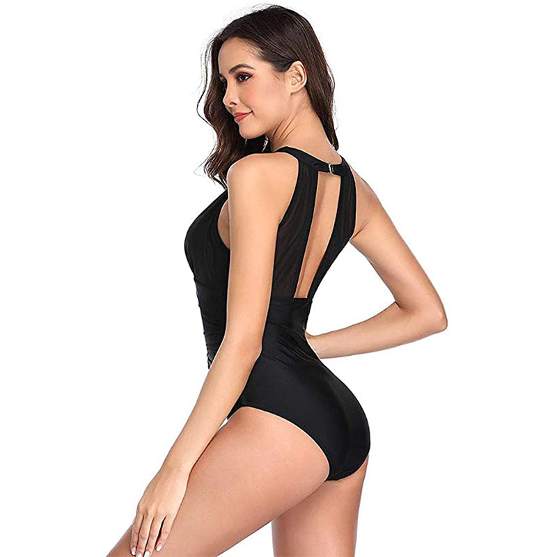 Women High Neck One Piece Swimsuit Plunge Mesh Ruched Monokini Swimwear Black Image 2