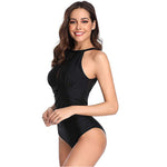Women High Neck One Piece Swimsuit Plunge Mesh Ruched Monokini Swimwear Black Image 1