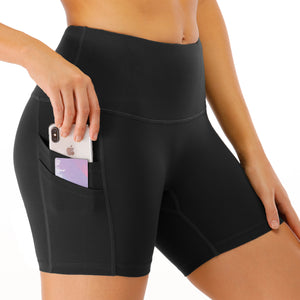 Women's High Waist Yoga Shorts with Phone Pocket image 2