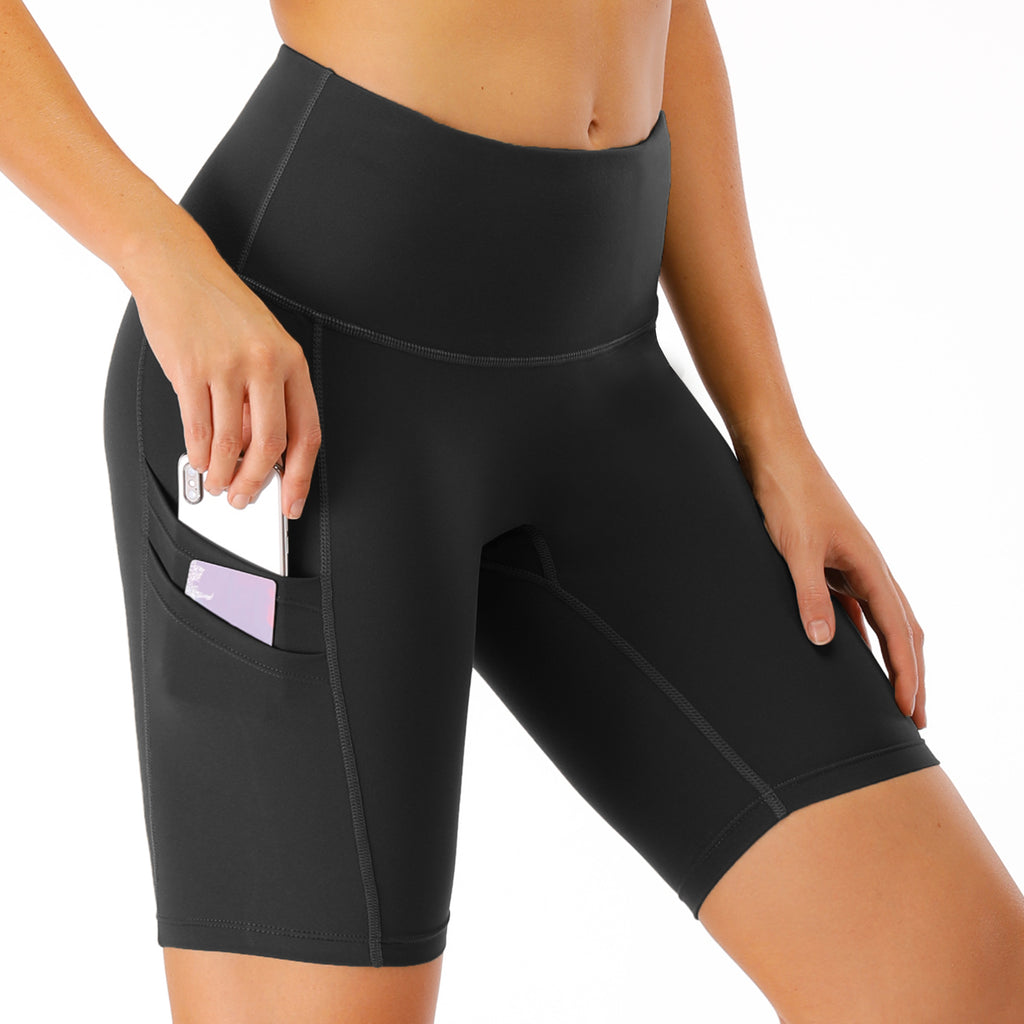 Women's High Waist Workout Shorts with Phone Pocket