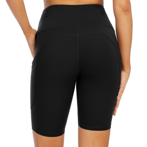 "Yoga Shorts with Pockets for Women High Waist Tummy Control Athletic Workout Running Shorts 8""-SL405"