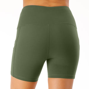 Green Yoga Shorts with Pocket image 9
