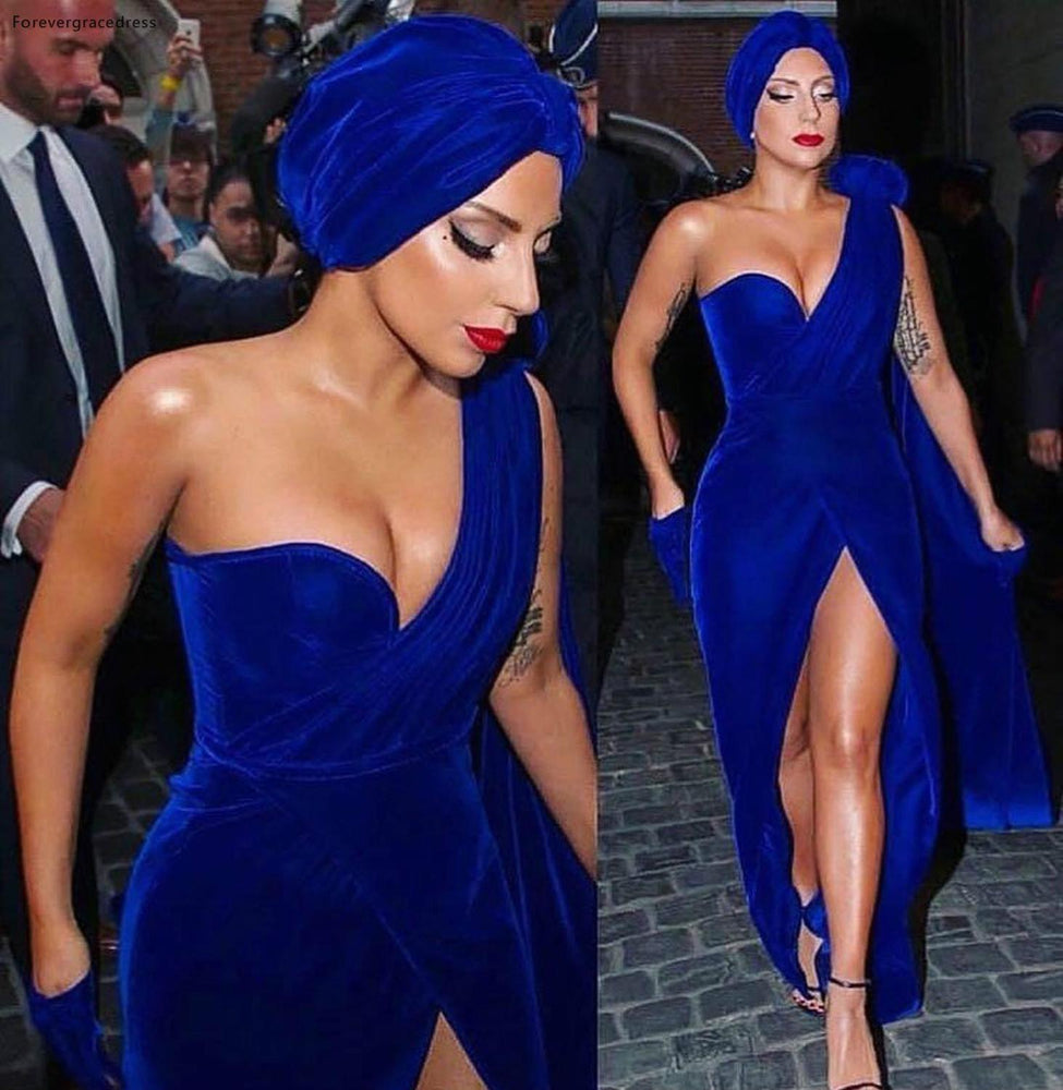 Lady Gaga Red Carpet Evening Dress Royal Blue Velvet Long Formal Holiday Celebrity Wear Prom Party Gown Plus Size