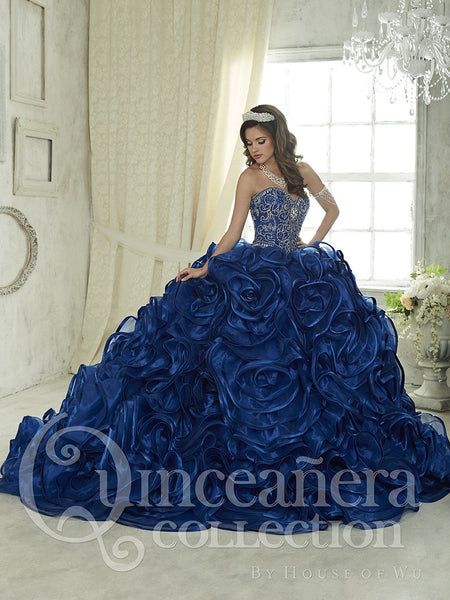 Royal Blue Quinceanera Dresses Ball Gown Sweetheart Beaded Crystal Ruffles Skirt Sweet 16 Dress Vestidos De 15 Anos