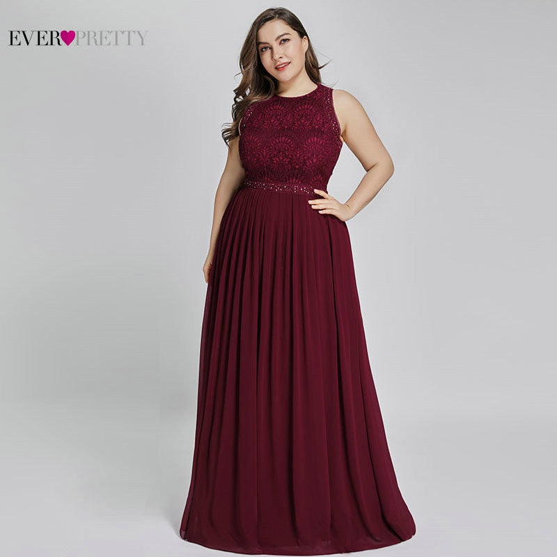 Mother Of The Groom Dresses Plus Size Ever Pretty Elegant A Line O Neck Beaded Lace Long Formal Party Gowns For Wedding 2020