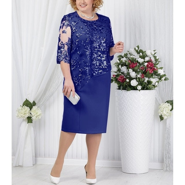 Plus Size Mother Of The Bride Dresses Half Sleeve Formal Wedding Party Gown Lace Patchwork robe mere de la mariee 2019 Onepiece