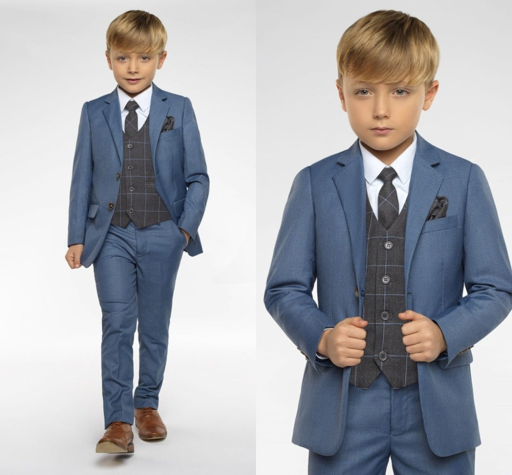 Peaked Lapel Kids Suits Custom Made Clothing Set 3 Pieces Prom Suits (Jacket+Pants+Tie+Vest)