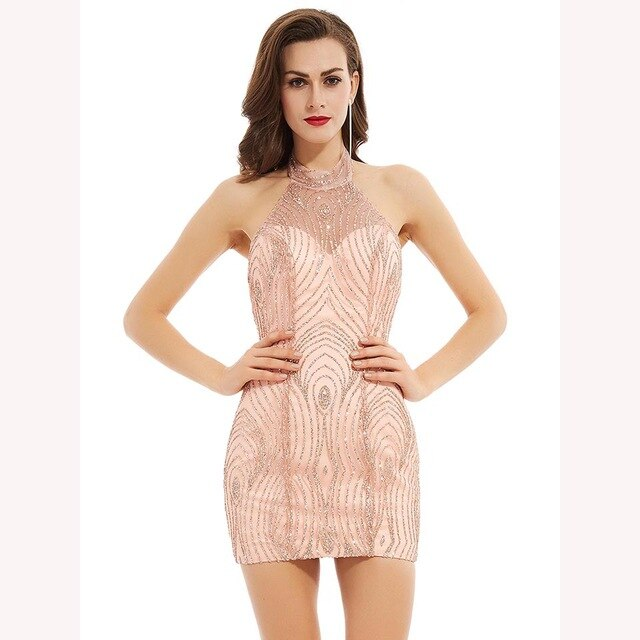 Dressv elegant cocktail dress pink halter neck sleeveless short mini backless sheath gown lady homecoming short cocktail dresses