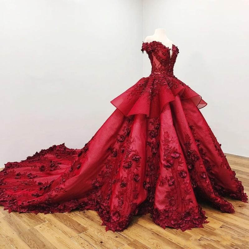 Dark Red Quinceanera Dresses Off The Shoulder 3D Floral Applique Beads Ball Gown Girls Pageant Gowns Formal Prom Dress