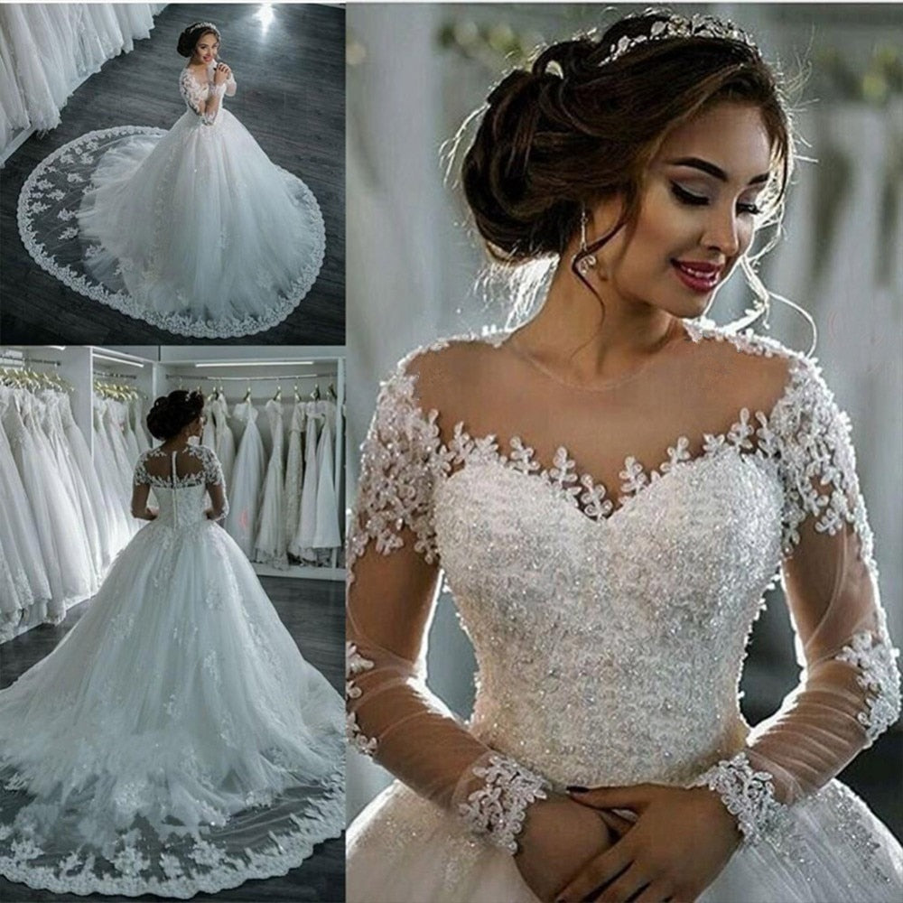 Elegant A Line Long Sleeve Wedding Dress Tulle Appliques Beaded Princess Lace Wedding Gown Robe De Mariee