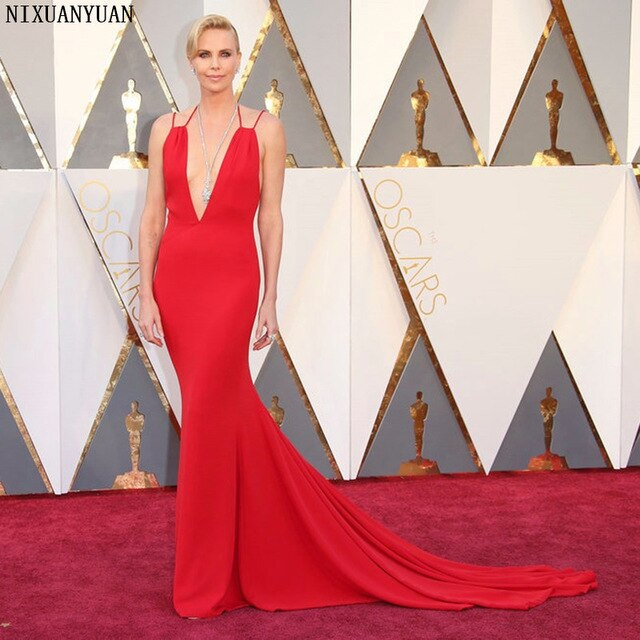 88th Oscars Academy Awards 2020 Charlize Theron Celebrity Dresses with Deep V Neckline Mermaid Red Carpet Dress for Party