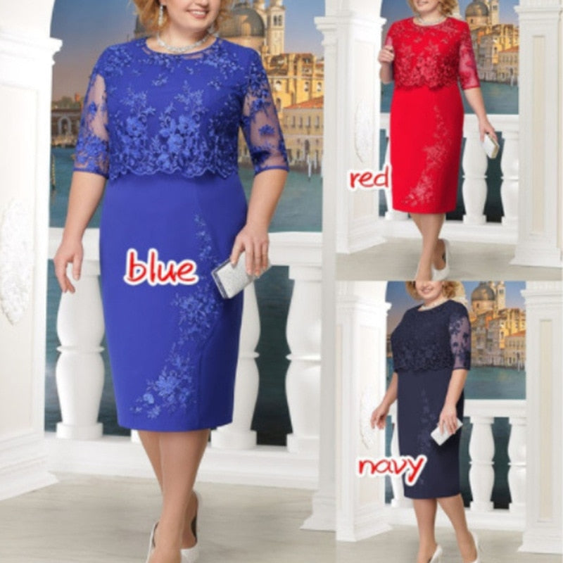Lace Plus Size Mother Of The Bride Dresses Scoop Neck Hal Sleeve Patchwork Wedding Guest Party Gown Mutter der Brautkleider