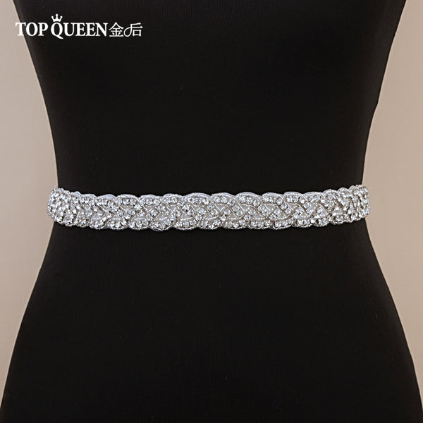 TOPQUEEN S216 Women's Rhinestones Handmade Belt Wedding  Belt Accessories Marriage Bridal Sashes Wedding Bridal Sashs Any Size