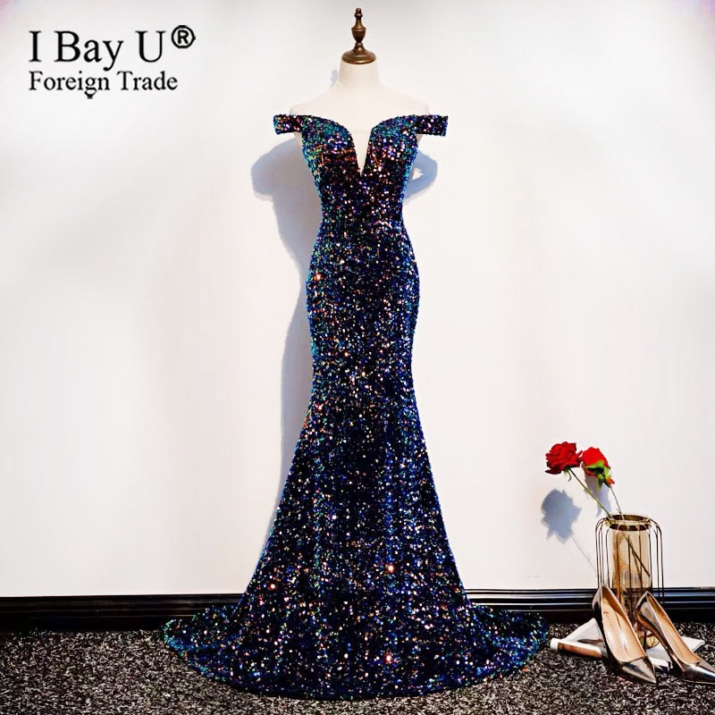 New Sequins Off Shoulder Mermaid Evening Gown Shiny Formal Evening Dress Vintage Elegant Long Sexy Prom Dress Small Train