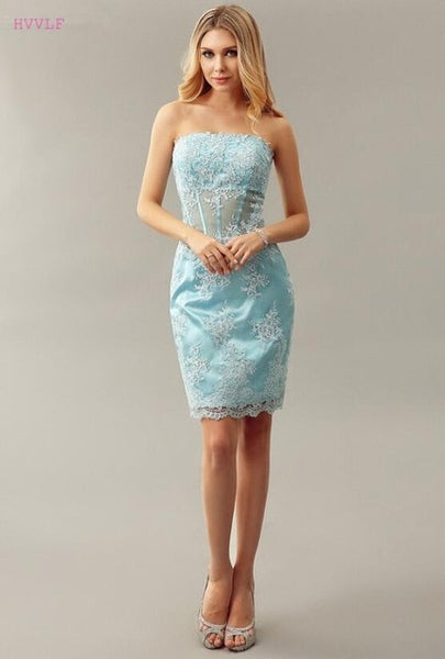 Sky Blue Elegant Cocktail Dresses Sheath Strapless Short Mini Appliques Lace Party Plus Size Homecoming Dresses