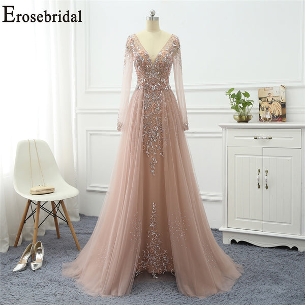 Erosebridal Elegant A Line Evening Dress Long 2020 Long Sleeve Formal Dresses Evening Gowns for Women with Train Long Prom Dress