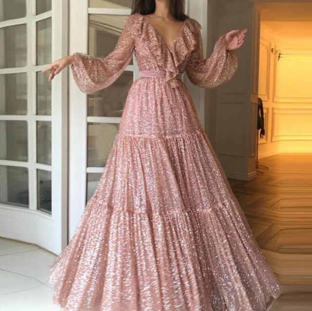 Gold pink  Long Prom Dresses A Line Sexy V-neck Long Sleeves Formal Pageant Holidays Wear Graduation Evening Party Gowns