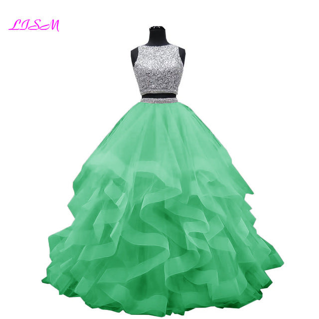 Luxury Crystals Two Pieces Ball Gown Quinceanera Dresses O-Neck Beaded Open Back Pageant Gown Long Tiered Organza Sweet 16 Dress