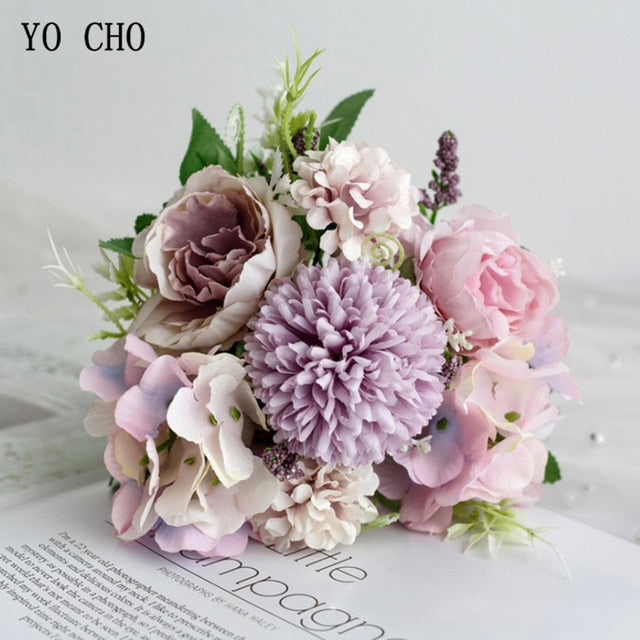 YO CHO Wedding Bouquet Artificial Silk Rose Peony Flower Bride Bouquet Pink Hydrangea Pompom Bud Vanilla Spike Wedding Supplies
