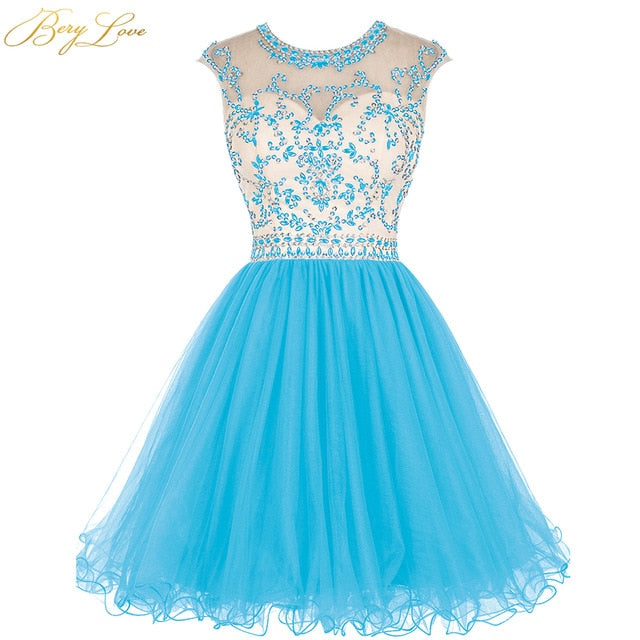 BeryLove Royal Blue Short Homecoming Dress 2020 Crystal Bodice Ruffle Skirt Colorful Short Gown Girl Party Prom Graduation Dress