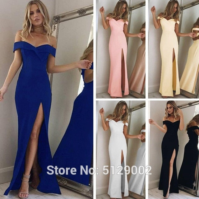 Women's 2020 Off Shoulder Side Split Slim Evening Maxi Mermaid Long Dress Sexy Lady Formal Gown YSAN306