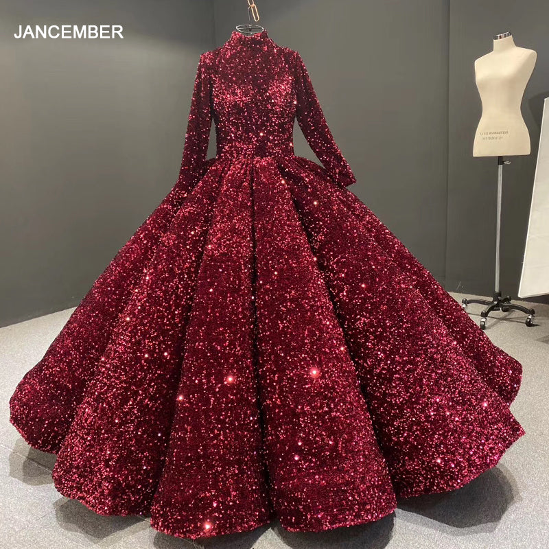 formal dress for teenagers high neck long sleeve sequined red quinceanera dresses vestidos de quincea era 2020