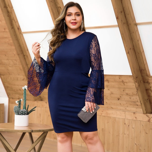 Plus Size Navy Blue Lace Cocktail Dresses O-Neck Full Flare Sleeve Draped Above Knee Sexy Mermaid Party Gowns Vestido Coctel