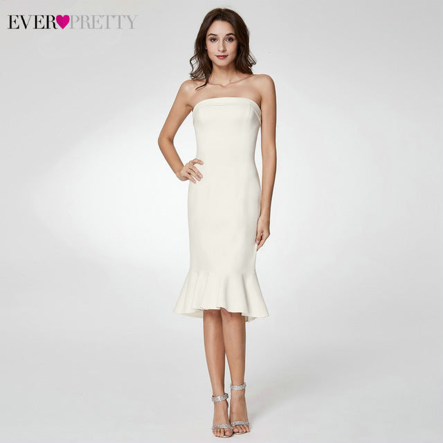 Sexy White Prom Dresses Ever Pretty EP05968WH Off Shoulder Boat Neck Knee-Length Mermaid Formal Dresses For Party Vestido 2020