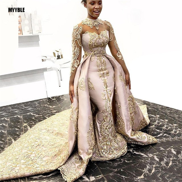 MYYBLE 2020 Gold Lace 2 Piece Evening Gowns Mermaid Long Prom Gowns See Thru Full Sleeves Formal Dresses Robe De Soiree
