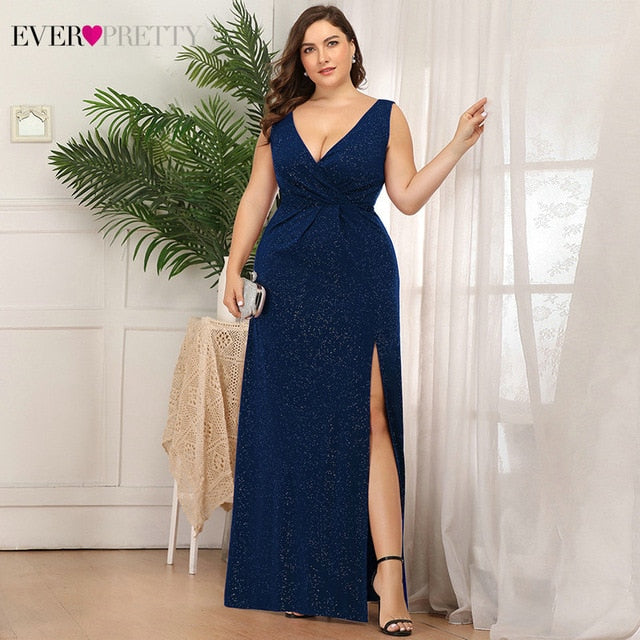 Plus Size Glitter Prom Dresses Ever Pretty EP07505 Double V-Neck Side Split Ruched Sleeveless Sexy Party Gowns Bestidos De Gala