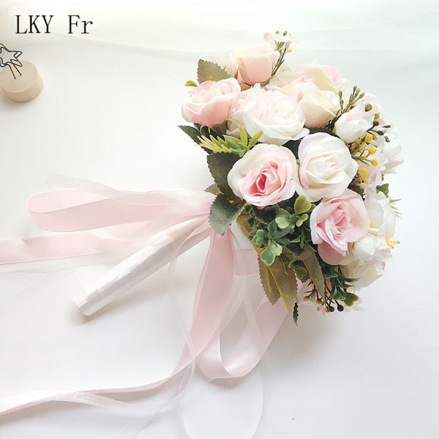 LKY Fr Wedding Bouquet Flowers Marriage Accessories Small Bridal Bouquets Silk Roses Wedding Bouquets for Bridesmaids Decoration