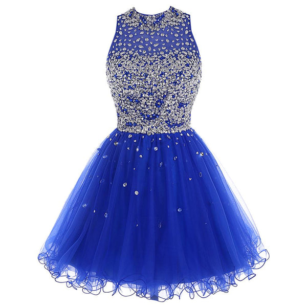 Cheap Royal Blue Homecoming Dress Crystal Beaded Sparkly Short Gowns Above Knee Mini Prom Graudation Dress Party Free shipping