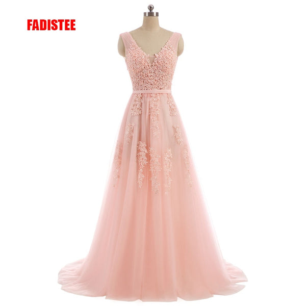 FADISTEE Vestido De Festa Sweet pink Lace V-neck Long Evening Dress Bride Party Sexy Backless beads pearls Prom Dresses lace-up