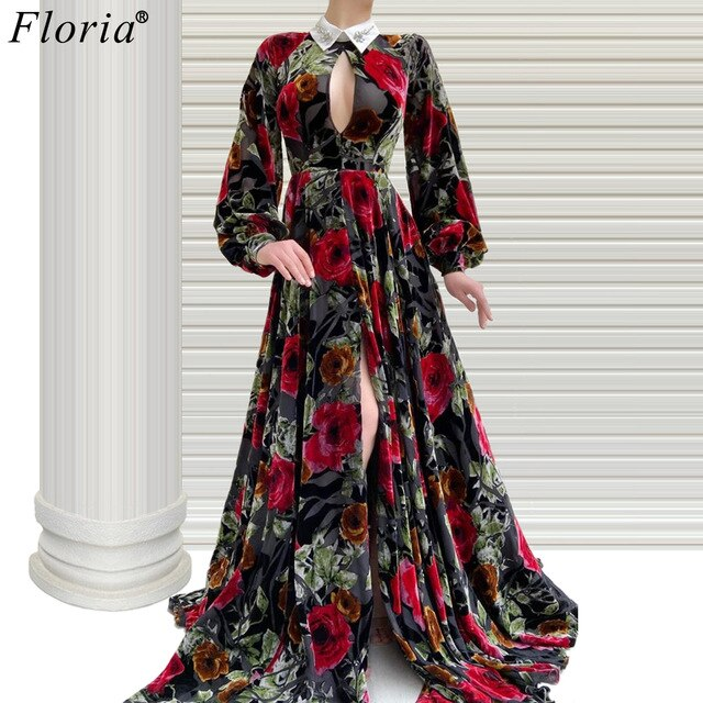 Vestidos Elegantes Flowers Celebrity Dresses 2020 Long Sleeves Formal Runaway Red Carpet Gowns Turkish Couture Photogarphy Robe