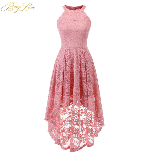BeryLove Blush Short Homecoming Dress 2020 Lace Mini Length Halter Neckline Girl Cute High-Low Party Graduation Gown Zipper Up