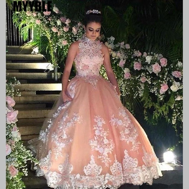 Sweet 16 Year Lace Champagne Quinceanera Dresses 2020 vestido debutante 15 anos Ball Gown High Neck Sheer Prom Dress For Party