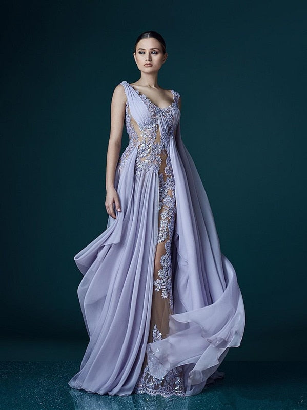 See Through Formal Celebrity Dresses A-line V-neck Chiffon Appliques Sexy Long Evening Dresses Famous Red Carpet Dresses