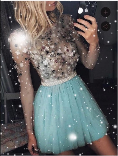 2020 Short Homecoming Dresses Pearls Beaded Handmade Flower Long Sleeves Prom Dresses Cocktail Dress