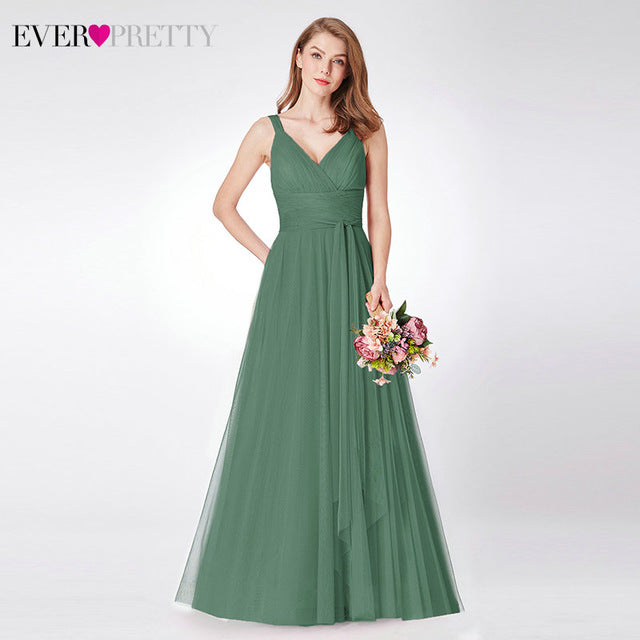 Prom Long Elegant Dresses Ever Pretty EP07303 V-neck Sleeveless A-line Tulle Teal Prom Dresses 2020 Pink Sexy Vestido Formatura