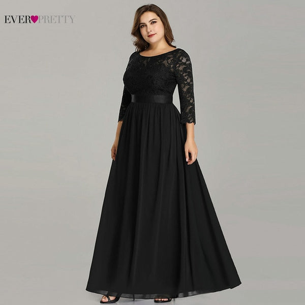 Wedding Party Dress Plus Size Ever Pretty Elegant A Line O Neck Three Quarter Sleeve Long Lace Mother Of The Bride Dresses 2020