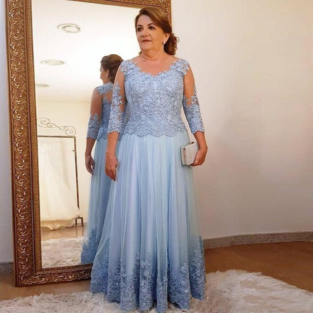 Plus Size Mother Of The Bride Dresses A-line 3/4 Sleeves Tulle Appliques Beaded Groom Long Mother Dresses For Weddings