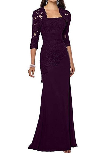 New Chiffon Lace Mother of the Bride Dresses with Jacket Applique Three Quarter Long Sleeves Mermaid Mother's Evening Gowns 2020